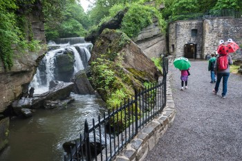 Aberdulais-Visitors-With-Brollies