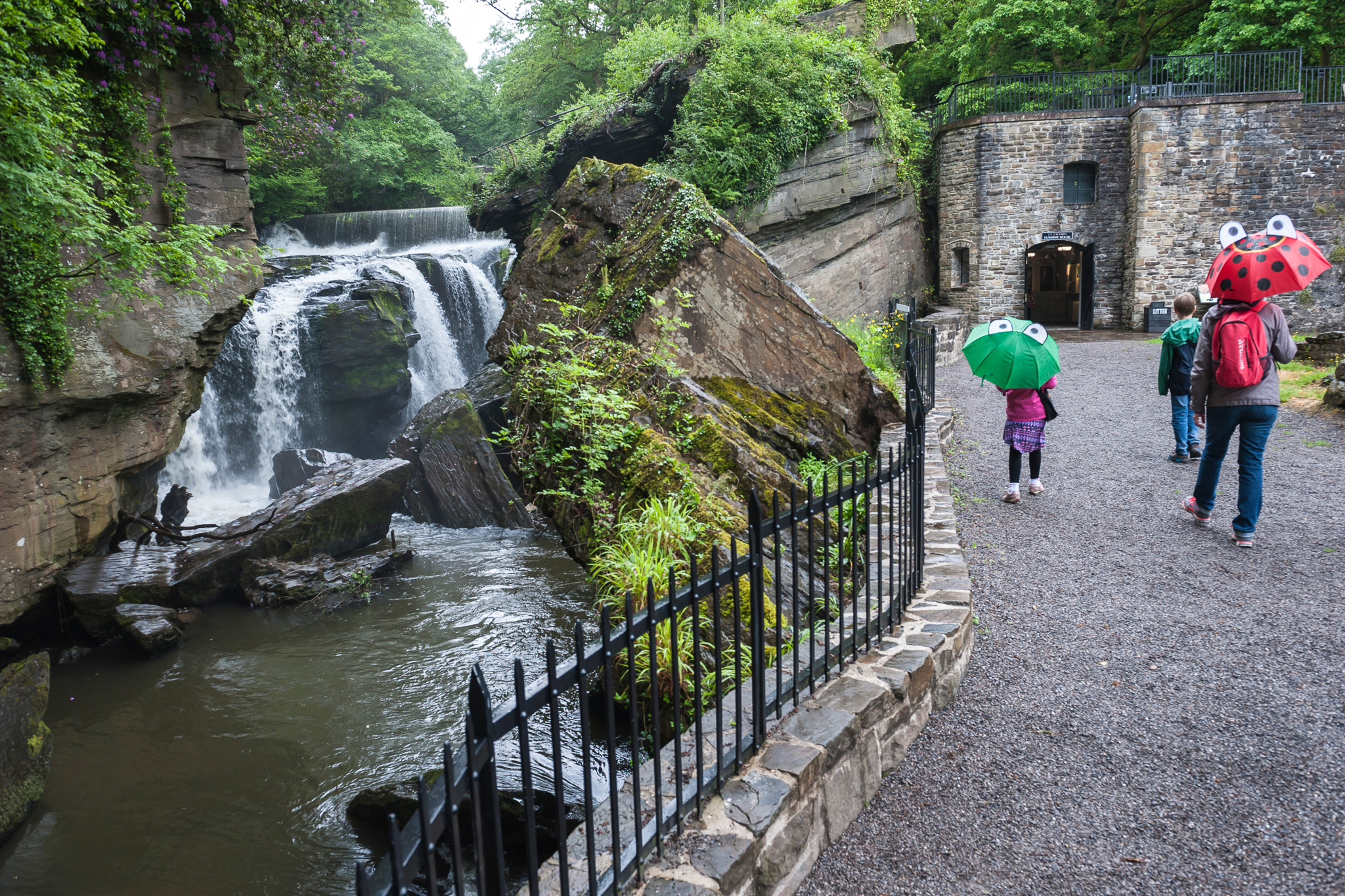 Aberdulais Visitors With Brollies